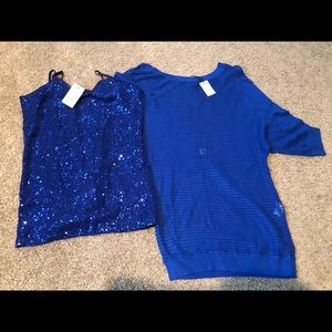 Express tops-mesh dolman with sequined camisole.